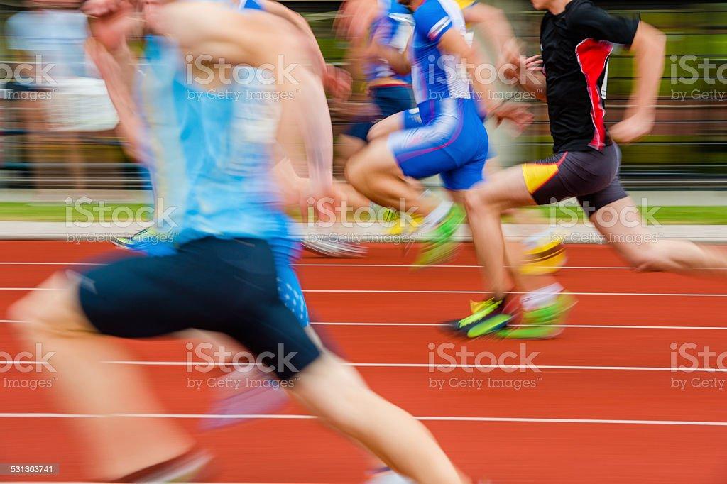 Athletes at 100 m Sprint Race stock photo
