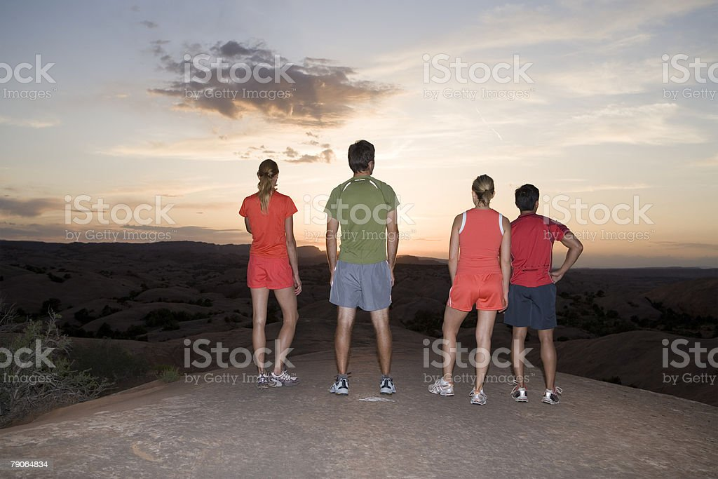 Athletes at sunset royalty-free 스톡 사진