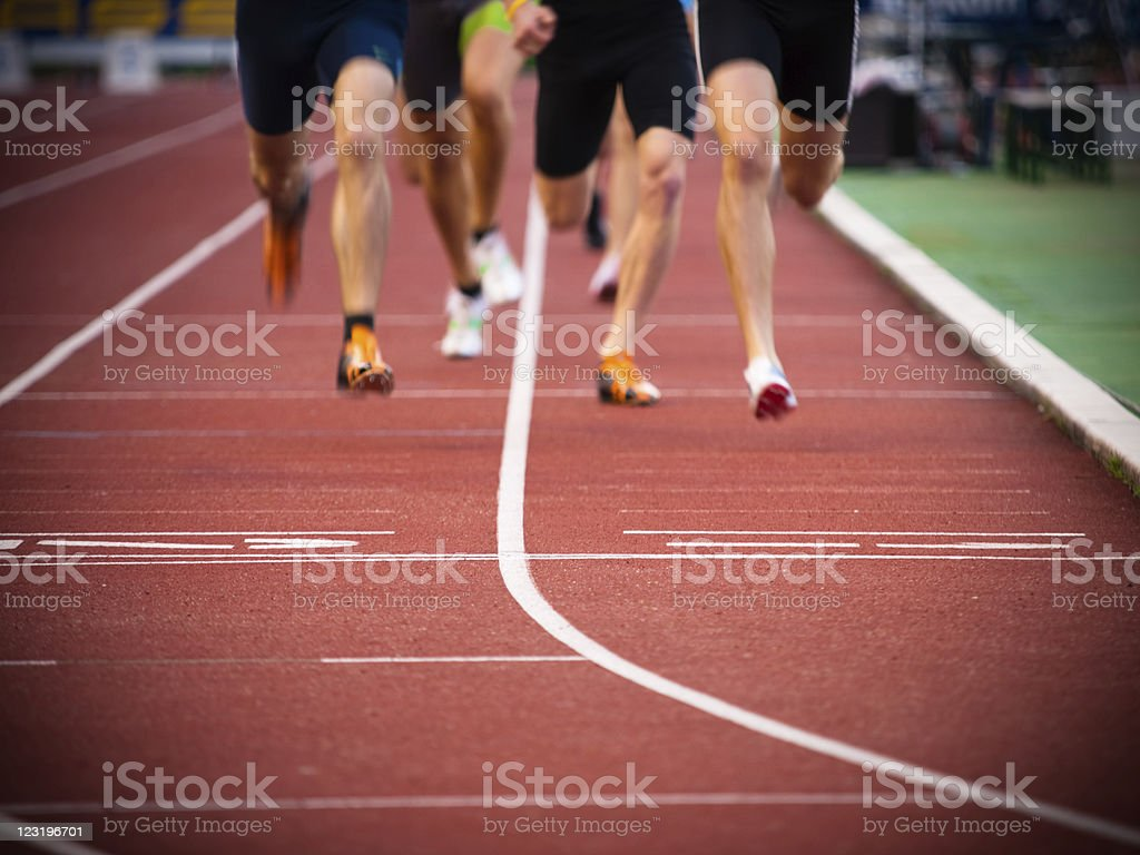Athletes at the finish line royalty-free stock photo