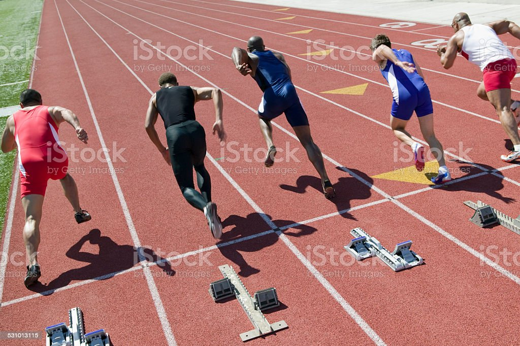 Athletes competing stock photo
