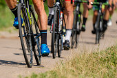 detailed view on cyclists in a triathlon competition