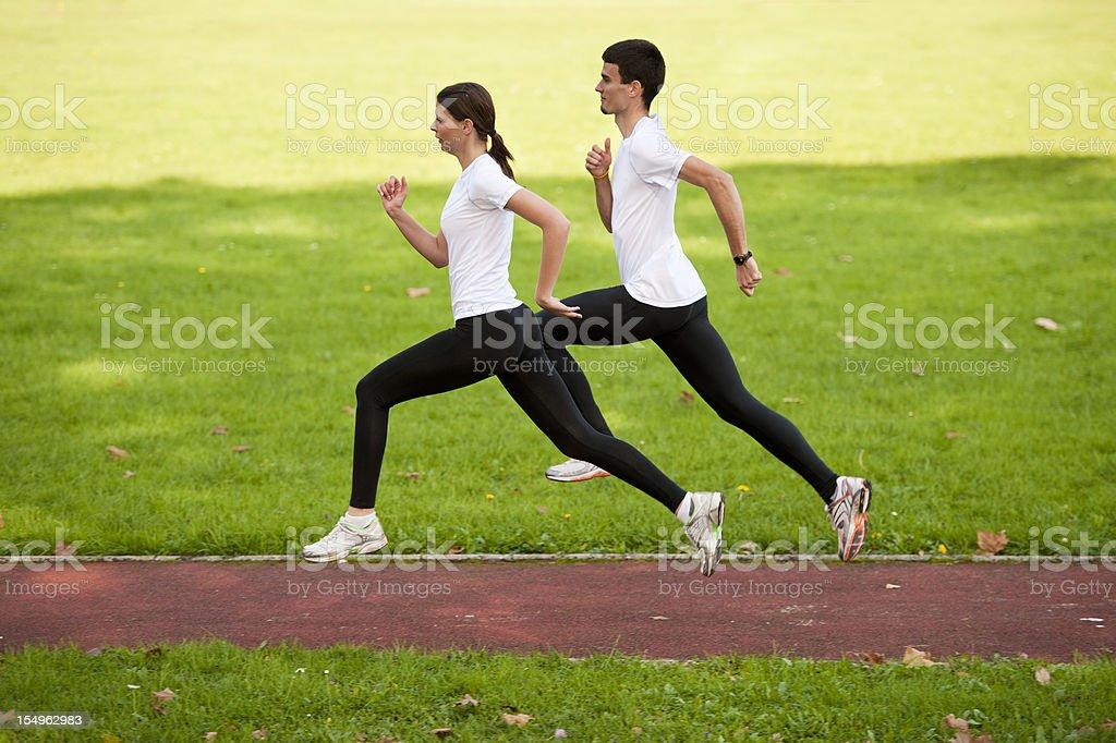 Athletes practicing sprint royalty-free stock photo
