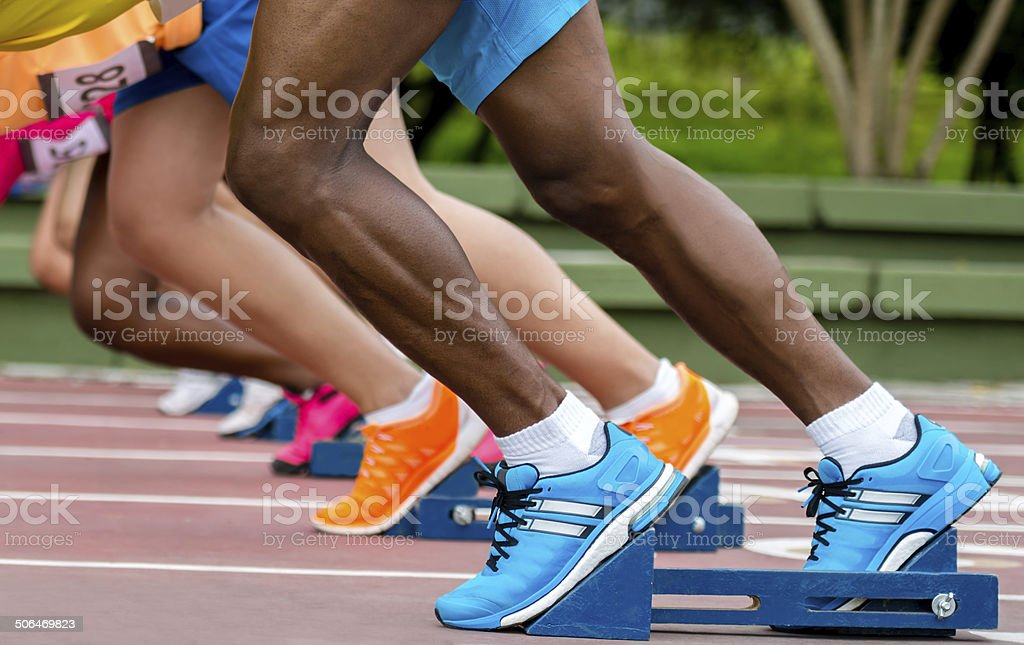 Athletes ready to run stock photo