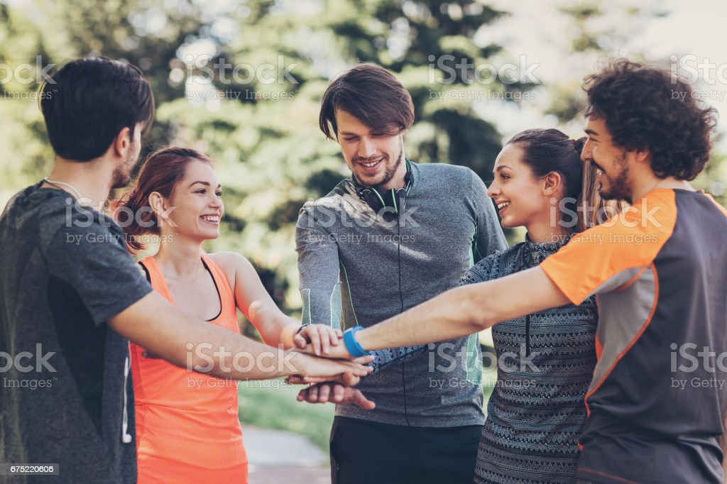Athletes supporting each other royalty-free stock photo