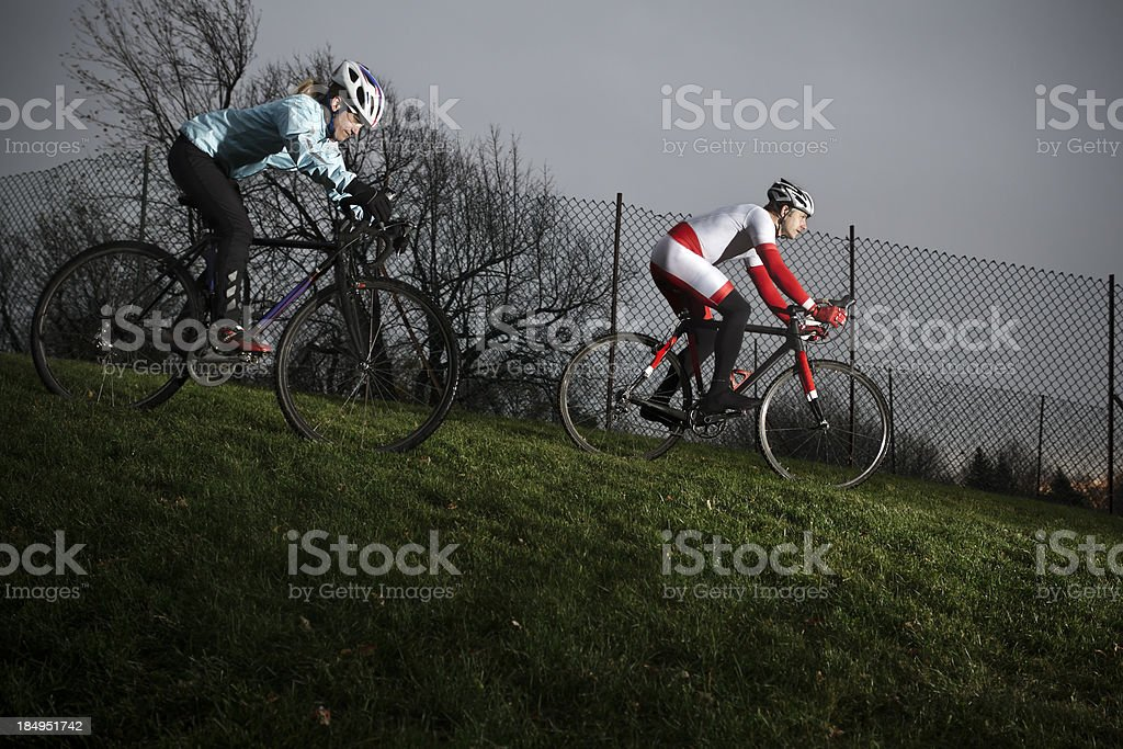 Athletes training for a cyclo-cross race royalty-free stock photo