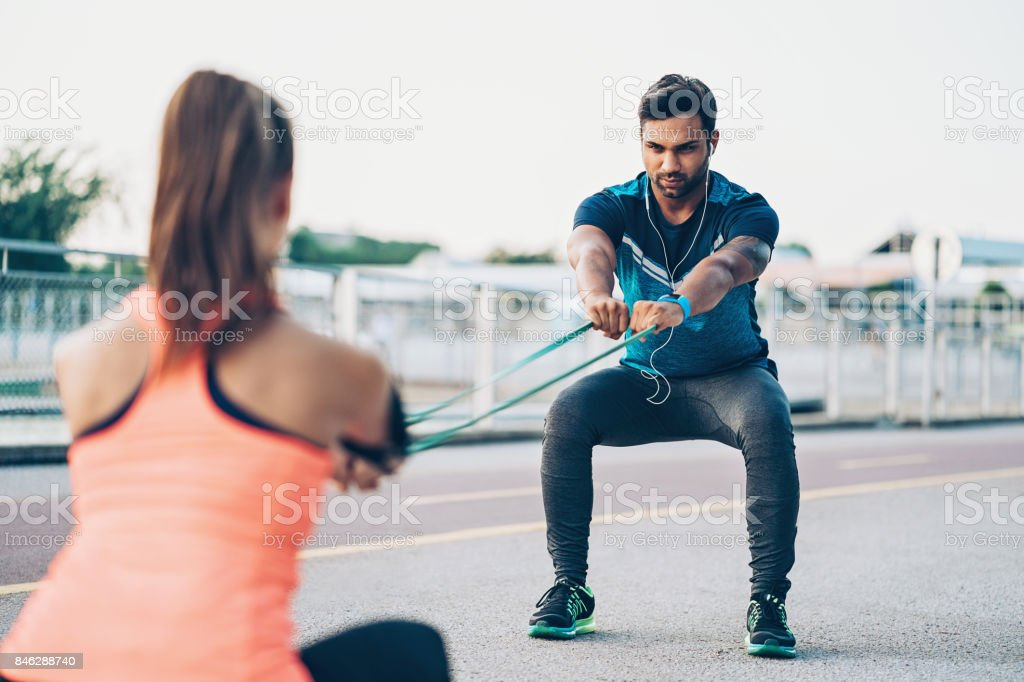Athletes training outdoors stock photo