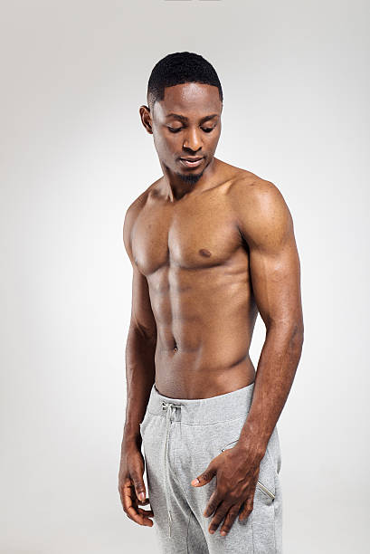 Athletic african american man shirtless stock photo