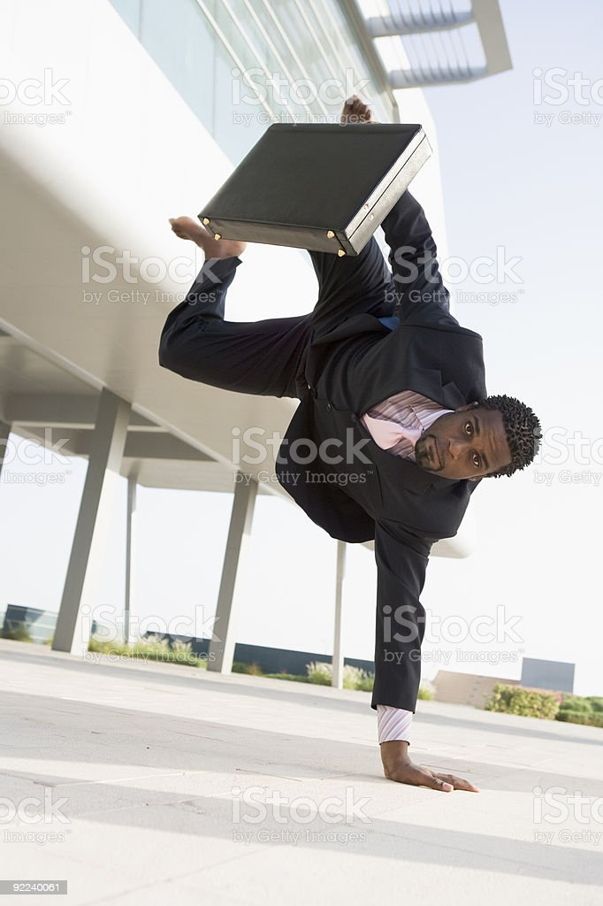 Athletic businessman outside office royalty-free stock photo