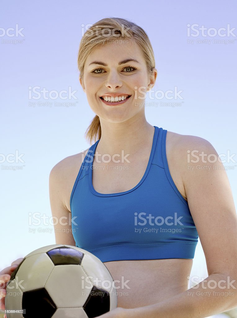 Athletic Female with Soccer Ball royalty-free stock photo
