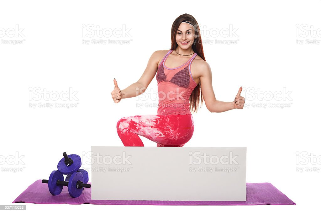 Athletic fitness woman with sign board blank helthy sport isolated stock photo