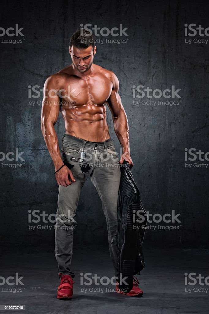 Athletic Male Model Posing stock photo
