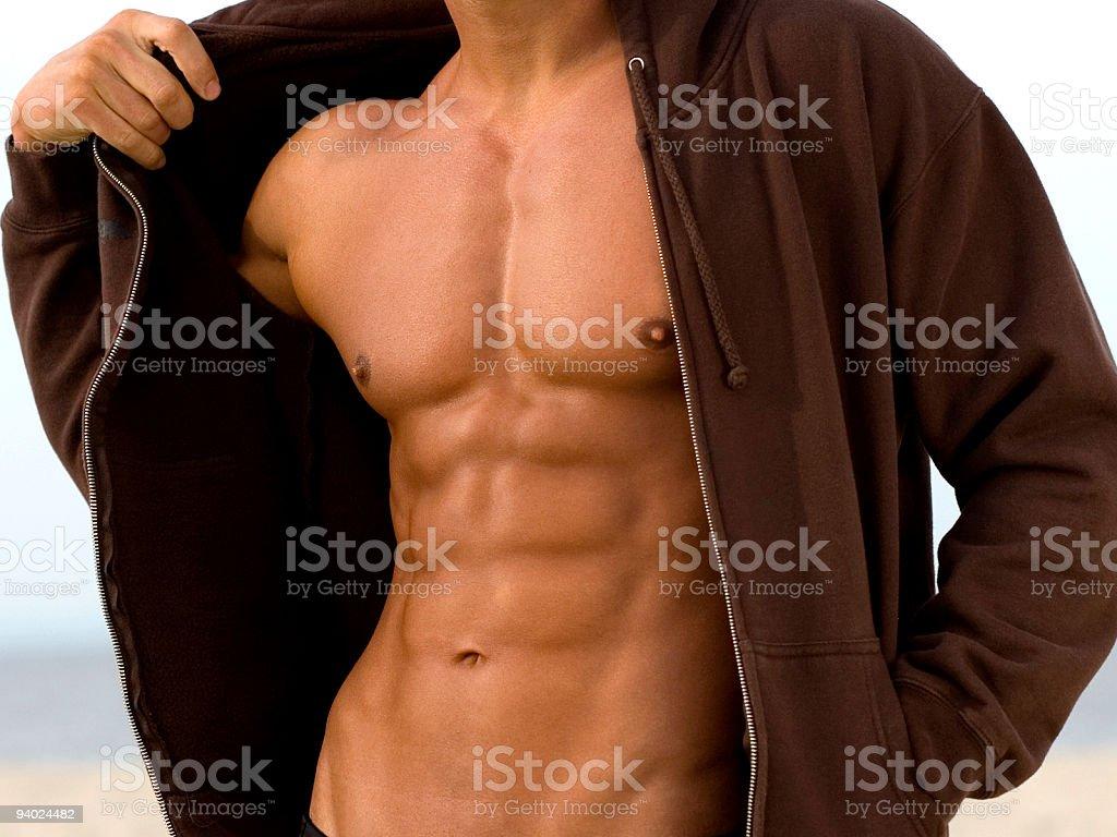 Athletic hombre abre Hoodie foto de stock libre de derechos