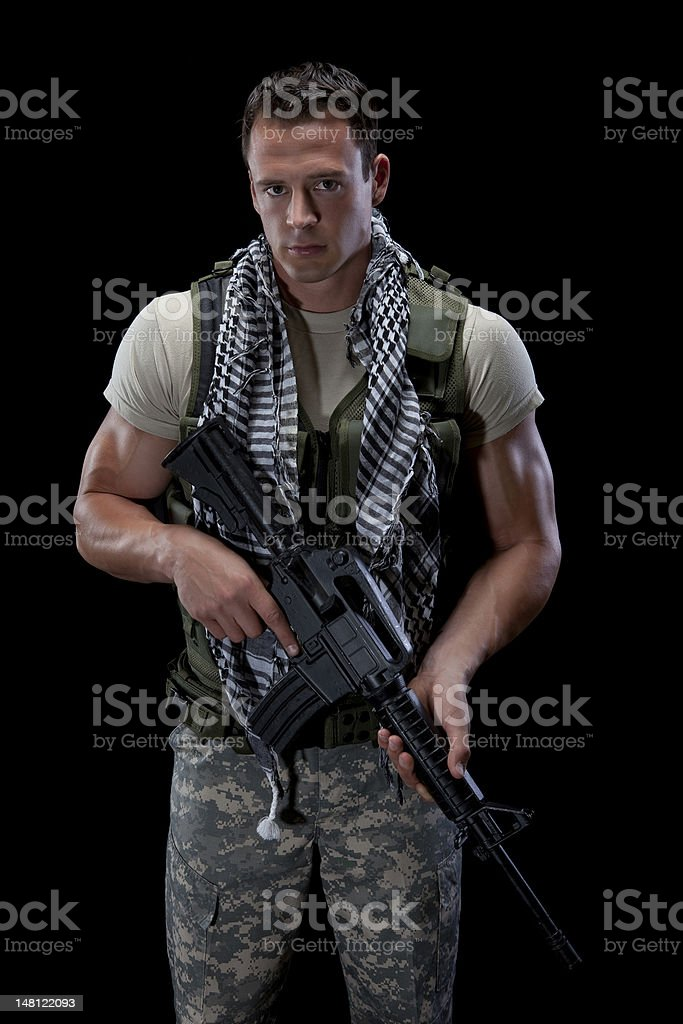 Athletic Male Soldier stock photo