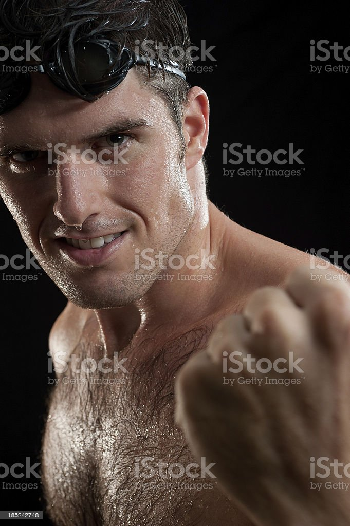 Athletic Male Swimmer Portrait stock photo