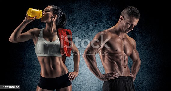 istock Athletic man and woman after fitness exercise 486468768