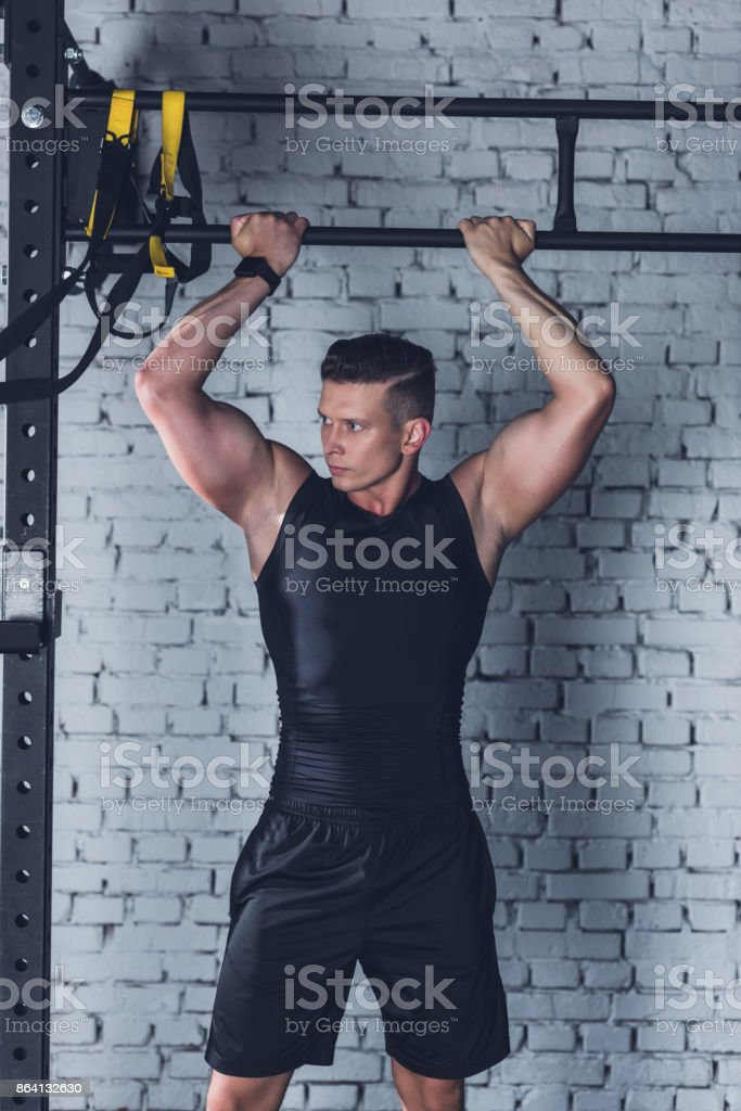 athletic man in gym royalty-free stock photo