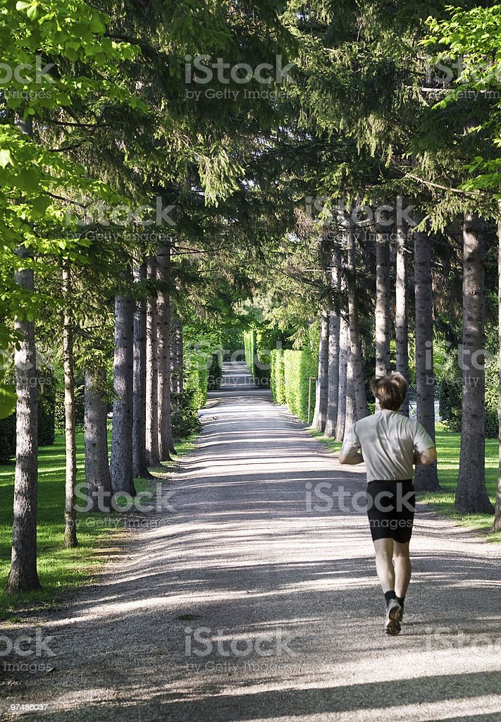 Athletic man running in park royalty-free stock photo