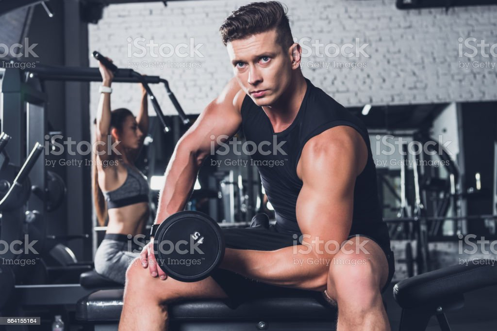 athletic man with barbell royalty-free stock photo