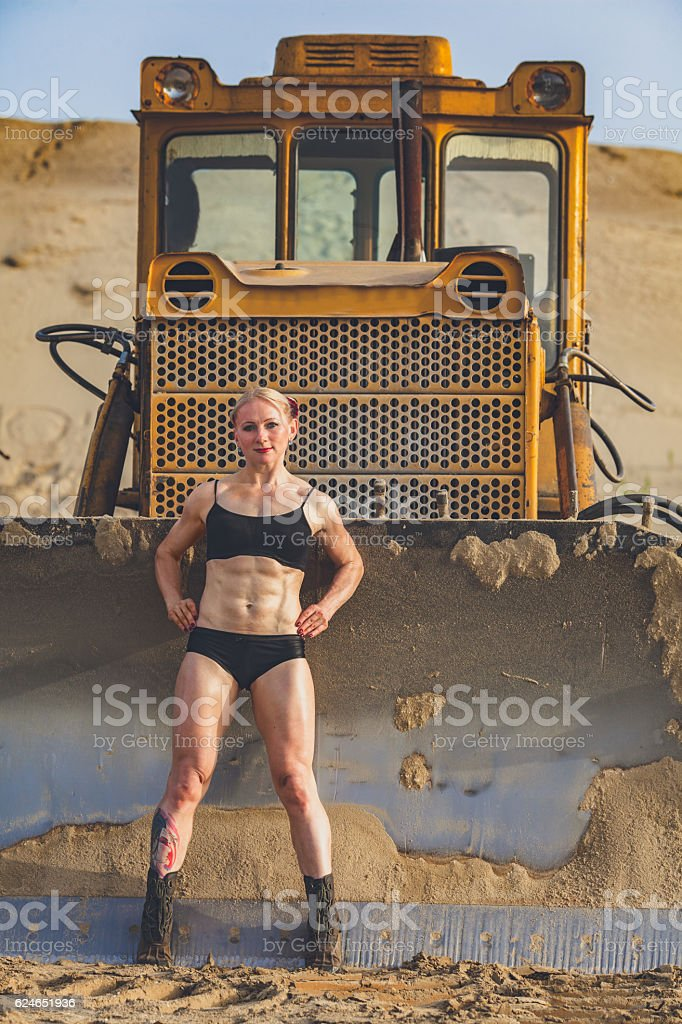 athletic muscular woman stock photo