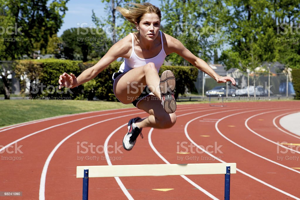 Athletic Woman at The Track stock photo