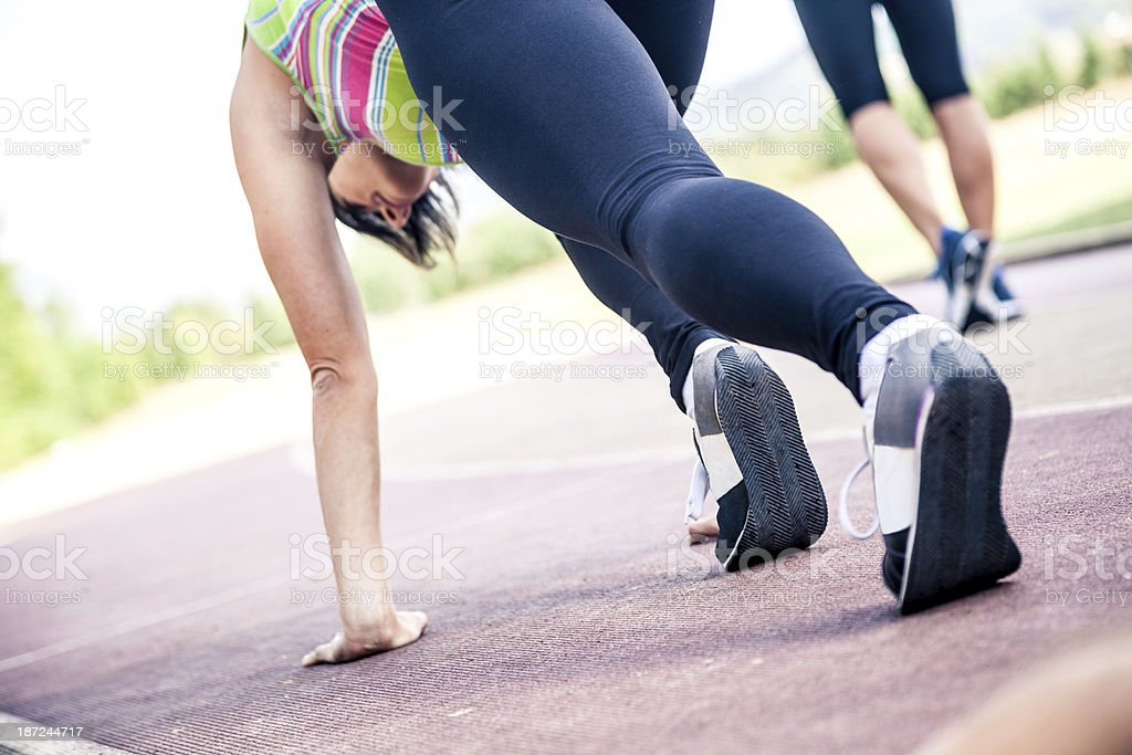 Athletic woman on track royalty-free stock photo