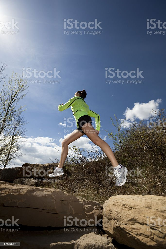 Athletic Young Woman Running royalty-free stock photo