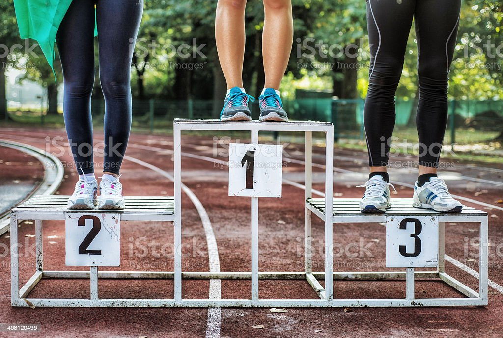 Athlets on Podium stock photo
