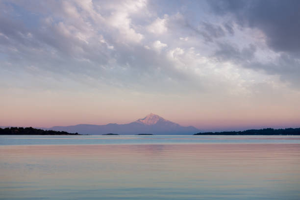Athos mountain as seen from Sithonia, Greece, in the dusk stock photo