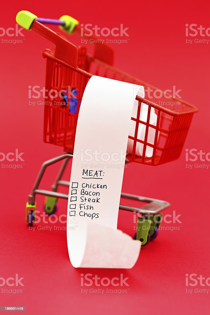 Atkins-diet-style shopping list in tiny trolley only contains meat royalty-free stock photo
