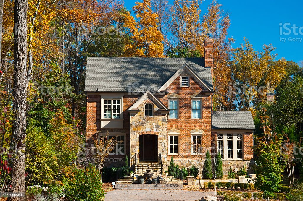 Atlanta brick house in a woods like setting stock photo