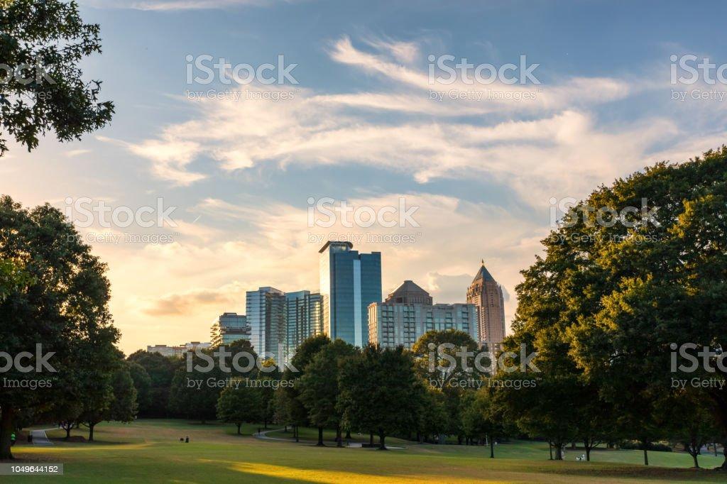 Atlanta cityscape at dusk stock photo