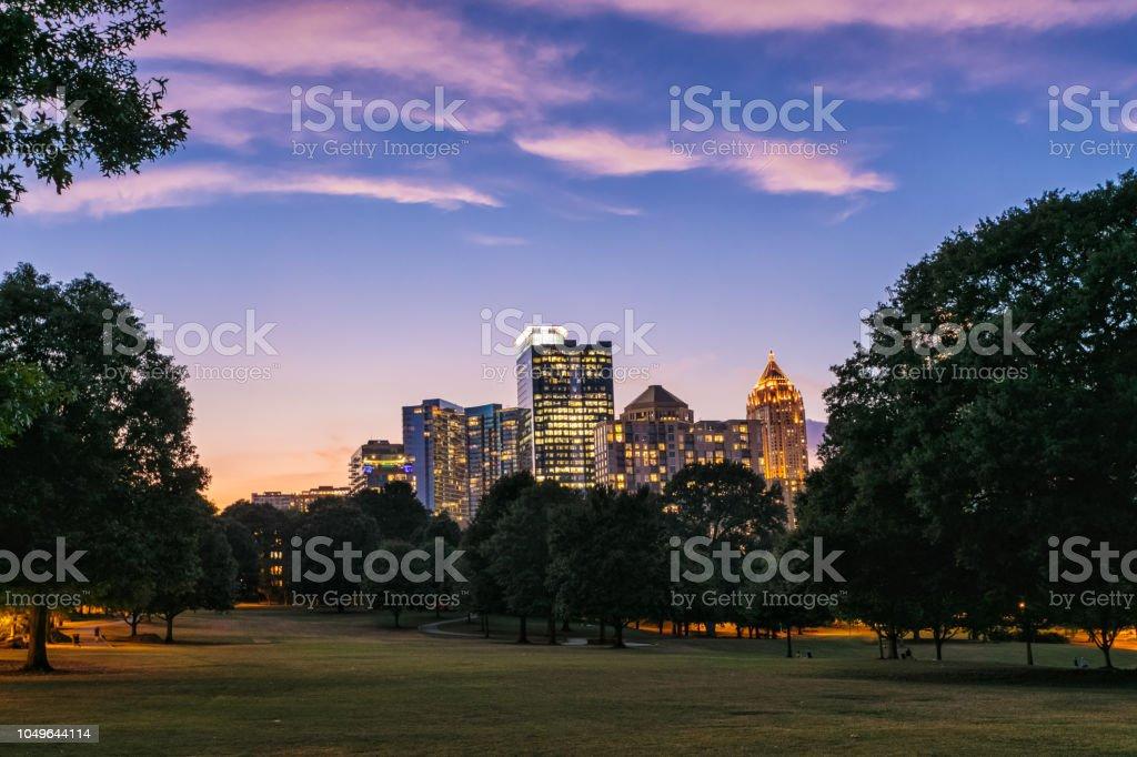 Atlanta cityscape at twilight stock photo