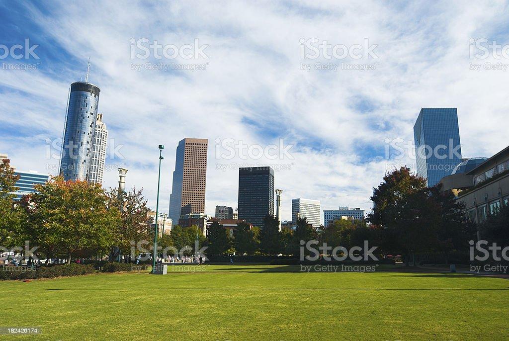 Atlanta Downtown skyline and Centennial Park stock photo