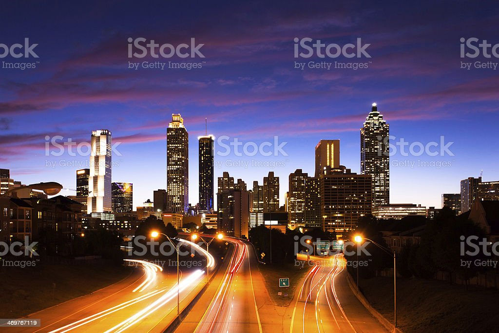 Atlanta Downtown with traffic stock photo