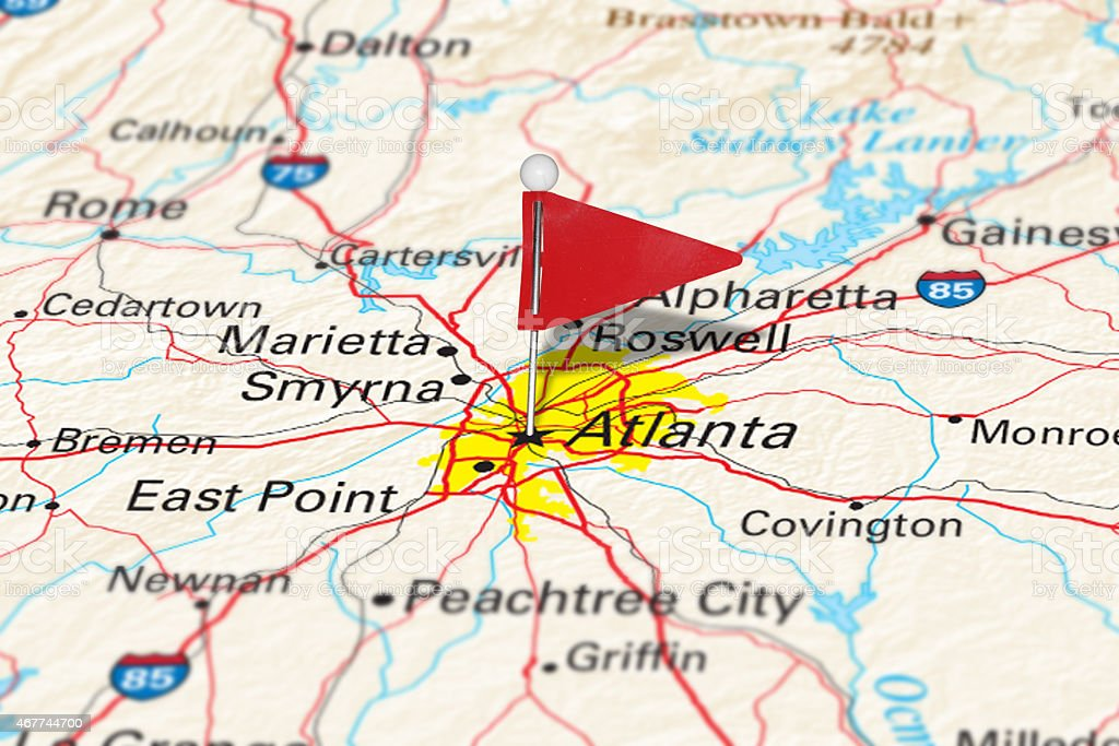 Atlanta, GA, USA - Cities on Map Series stock photo