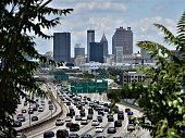 Downtown Atlanta's skyline and highway traffic