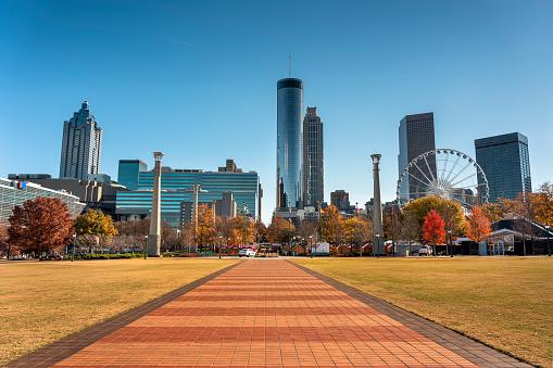 Downtown city skyline view of Atlanta Georgia USA