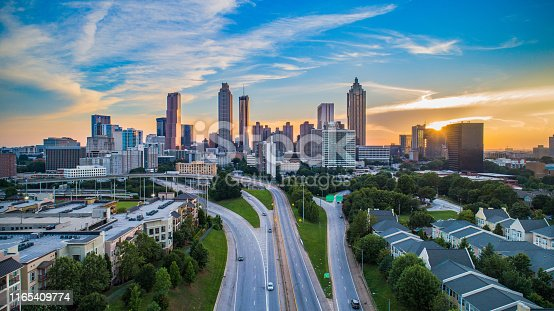 Atlanta Georgia GA Downtown Skyline Aerial Panorama.