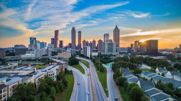 Atlanta Georgia GA Downtown Skyline Aerial Panorama stock photo