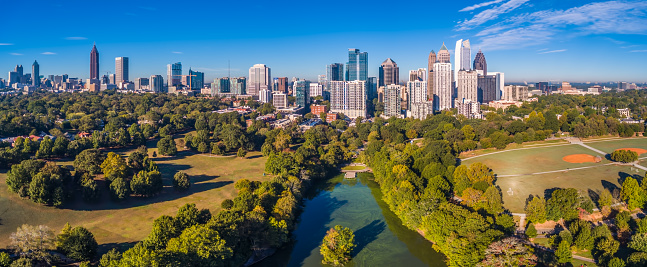 Aerial view of the Atlanta, Georgia Skyline
