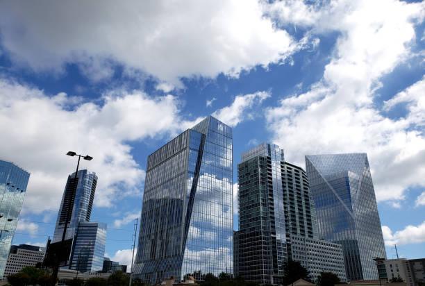 Atlanta Georgia Skyline with blue cloudy sky - Buckhead stock photo