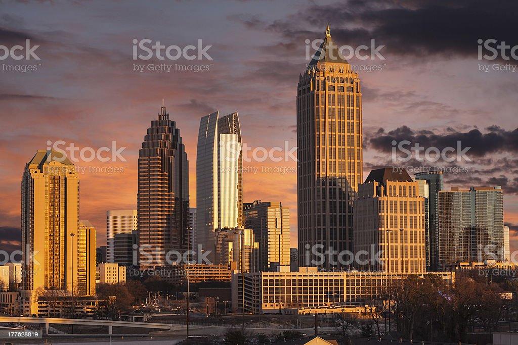 Atlanta Georgia Sunset Skyline stock photo