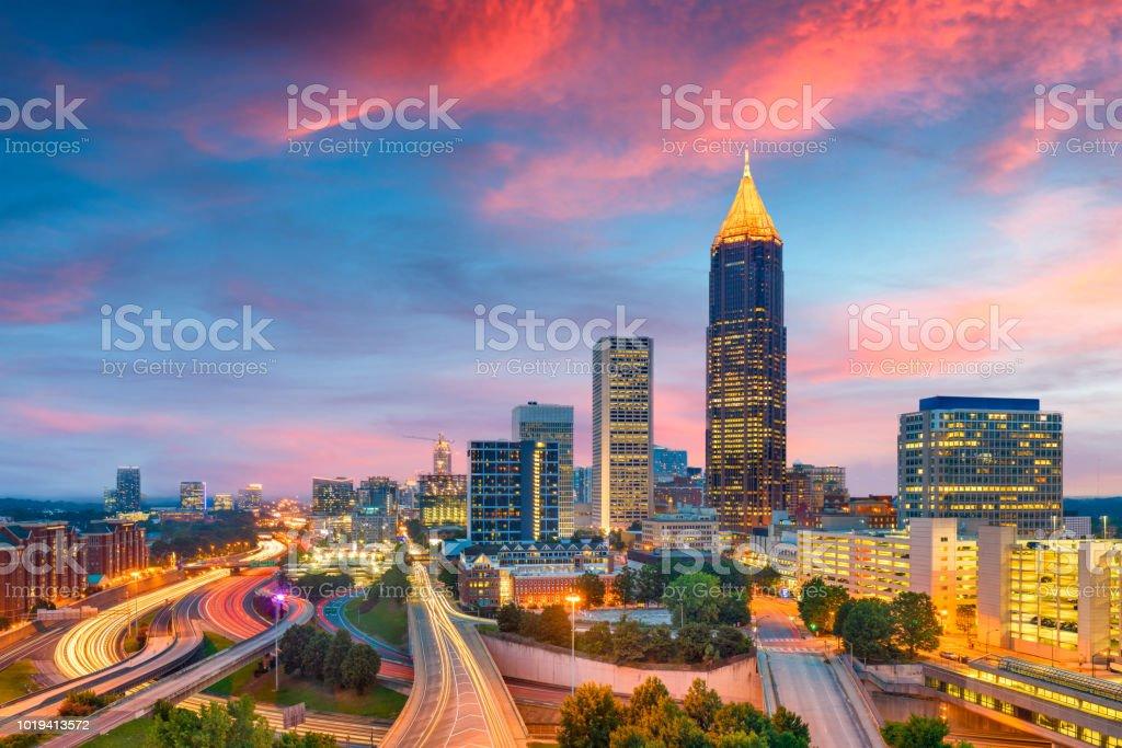 Atlanta, Georgia, USA downtown and midtown skyline at dusk. royalty-free stock photo