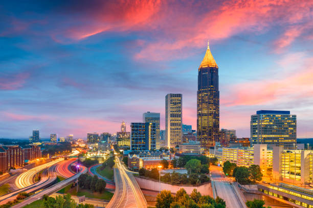 Atlanta, Georgia, USA downtown and midtown skyline at dusk. stock photo