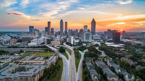 Atlanta, Georgia, USA Downtown Skyline Aerial Panorama.