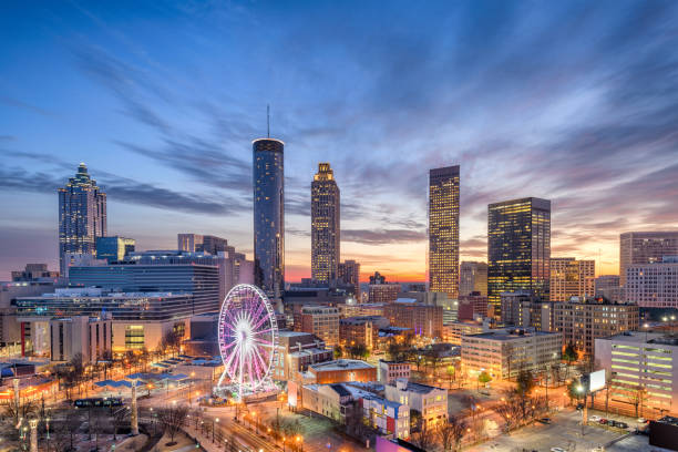 Atlanta, Georgia, USA Atlanta, Georgia, USA downtown city skyline. ferris wheel stock pictures, royalty-free photos & images