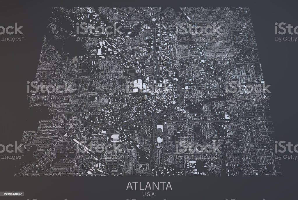 Atlanta map, satellite view, city, USA foto stock royalty-free