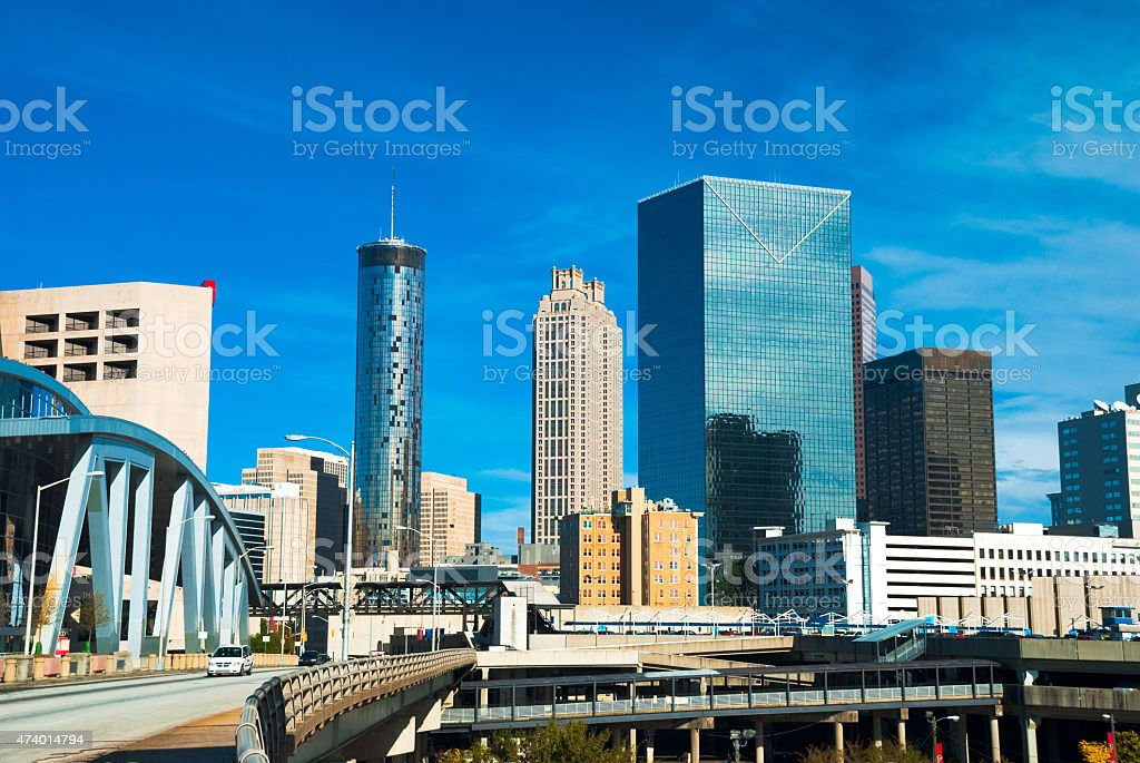 Atlanta skyline and bridge stock photo