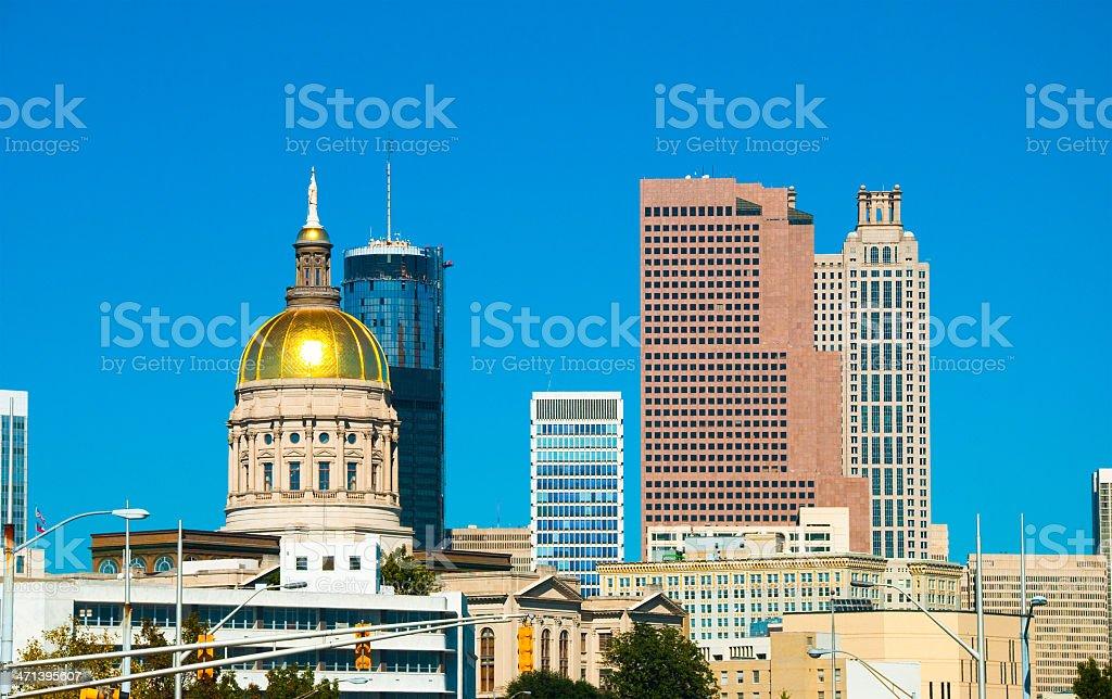 Atlanta skyline and Georgia State Capitol stock photo