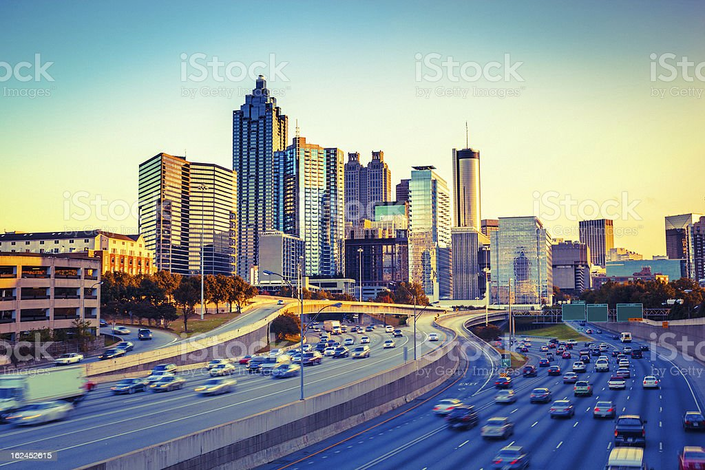 Atlanta Skyline and Highway at Sunset stock photo